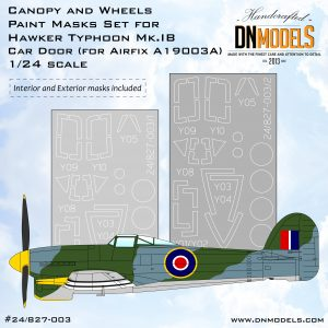 Typhoon Mk.IB /Car Door/ Canopy and Wheels Paint Mask Set -Interior and Exterior 1/24 dn models masks for scale models