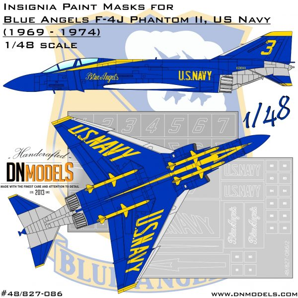Blue Angels F-4J Phantom II Paint Mask Set 1/48 dn models masks for scale models