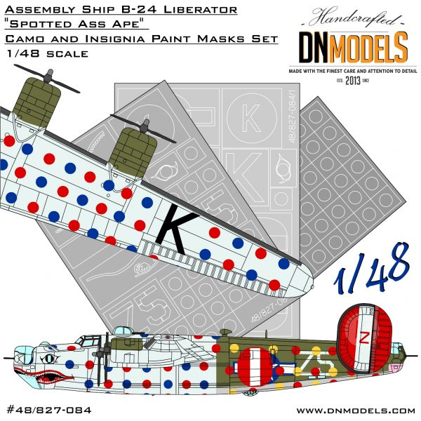 """Assembly Ship B-24 Liberator """"Spotted Ass Ape"""" Camo and Insignia Paint Mask Set 1/48 dn models masks for scale models"""