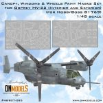 Cover MV-22 Osprey Canopy, Windows & Wheels (for HobbyBoss 81769) 48th scale (site) 02