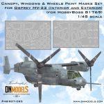 osprey mv-22 canopy windows wheels paint mask set for hobbyboss 81769 dn models masks for scale models
