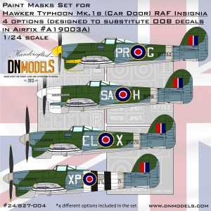 Hawker Typhoon Mk.Ib Numbers & Insignia Paint Mask Set 1/24 dn models masks for scale models