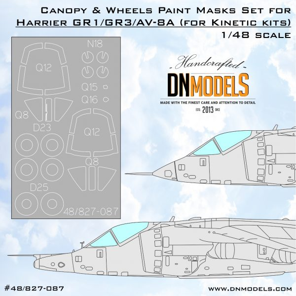harrier gr.1/gr.3/av-8a/va-8a canopy wheels paint mask set dn models masks for scale models