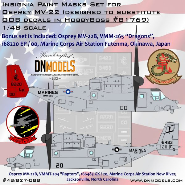 Osprey MV-22 Insignia Paint Mask Set for HobbyBoss #81769 + Bonus option included - 1/48 dn models masks for scale models