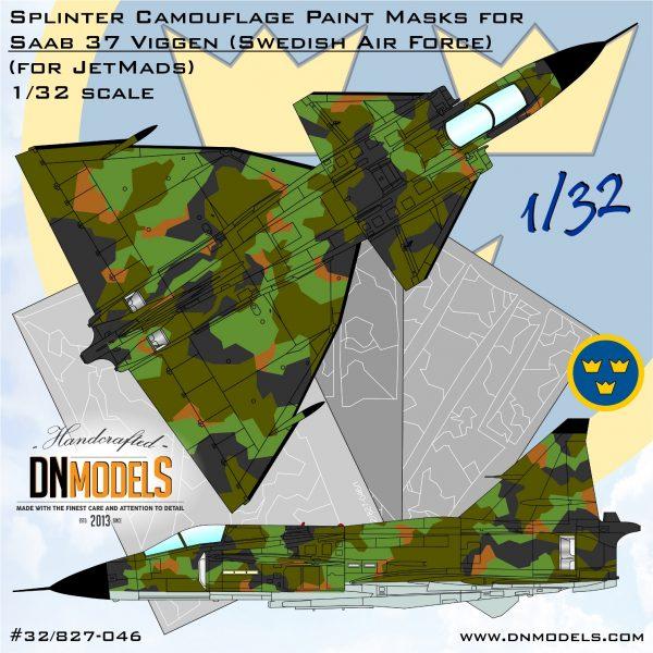 Saab 37 Viggen Splinter Camo Paint Mask set 1/32 - Limited Edition - dn models masks for scale models for jetmads kit