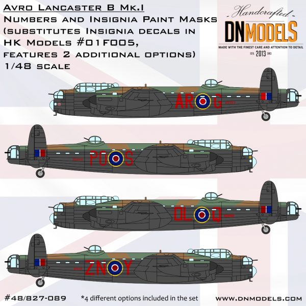 Avro Lancaster B Mk.I Insignia and Numbers Paint Mask Set 1/48 dn models masks for scale models