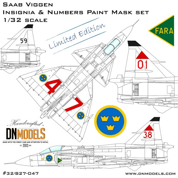 Saab Viggen Insignia & Numbers Paint Mask set 1/32 - Limited Edition dn models masks for scale models 2