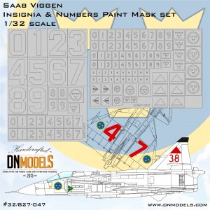 Saab Viggen Insignia & Numbers Paint Mask set 1/32 - Limited Edition dn models masks for scale models
