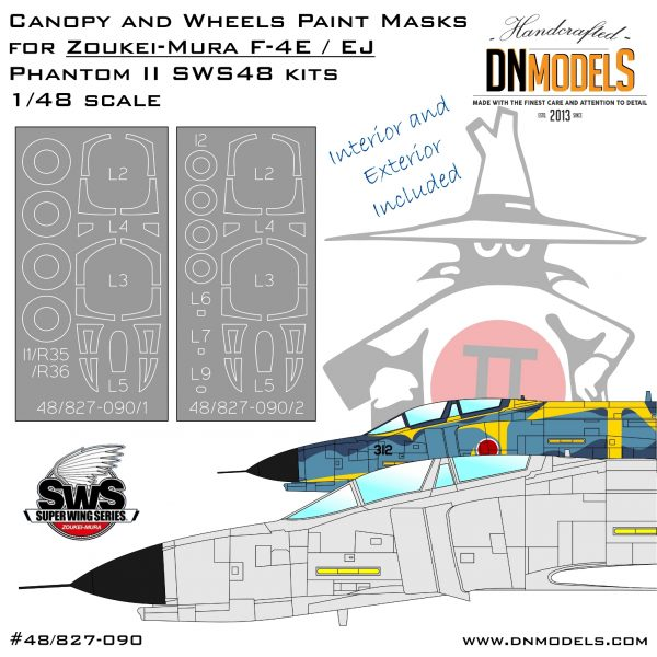 Canopy and Wheels Paint Masks for Zoukei-Mura F-4E/EJ Phantom II 1/48 SWS kits dn models masks for scale models