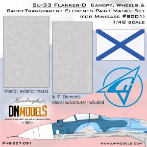 Su-33 Flanker-D Canopy, Wheels & RT Elements Paint Masks 1/48 for Minibase #8001 kit dn models masks for scale models