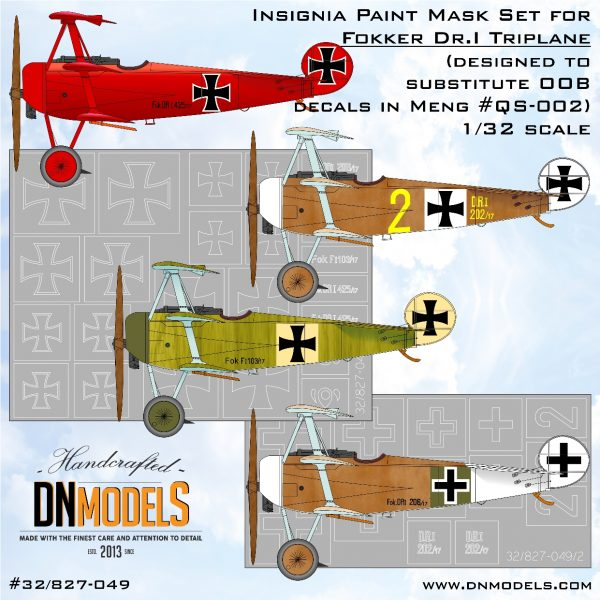 Insignia Paint Mask Set for Fokker Dr.I Triplane dn models masks for scale models