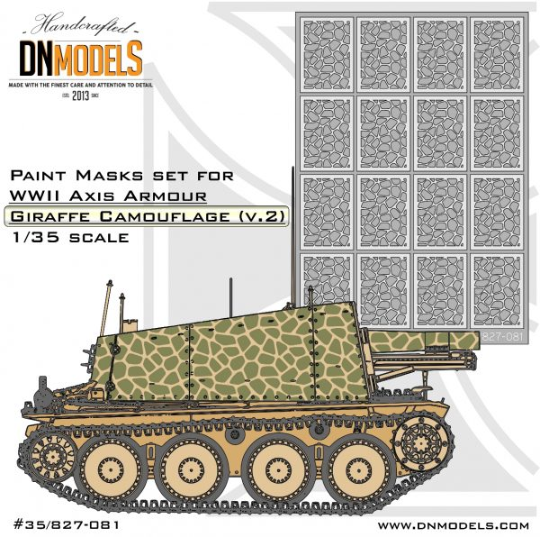 Giraffe Camouflage Paint Mask Set ver.2 Axis WWII Armor 1/35 dn models masks for scale models