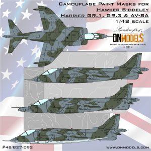 Harrier gr.1 gr.3 av-8a hawker siddeley camouflage mask set dn models masks for scale models