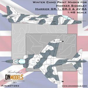 Winter Camo Harrier GR.1/3 & AV-8A Paint Mask Set 1/48 dn models masks for scale models