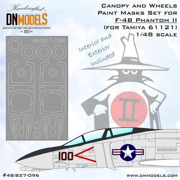 Canopy & Wheels Paint Masks for F-4B Phantom II /for Tamiya #61121/ 1/48 dn models masks for scale models
