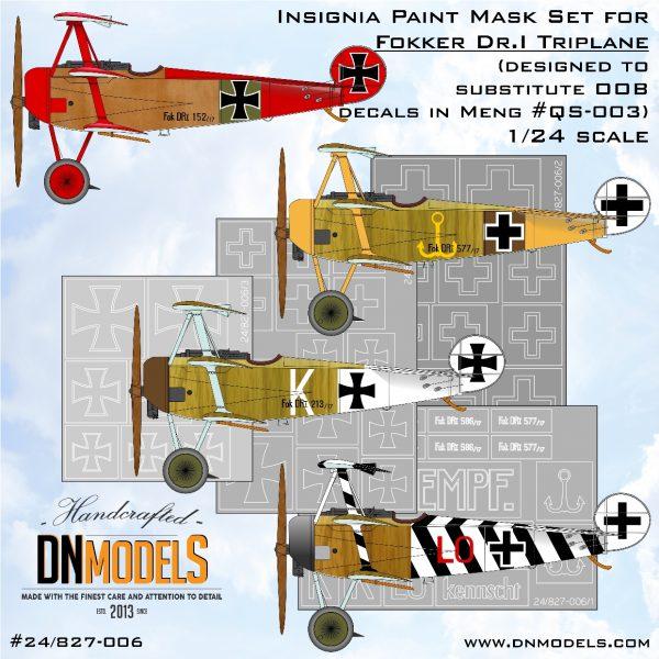 Insignia Paint Mask Set for 1/24 Fokker Dr.I Triplane designed for MENG kits dn models masks for scale models
