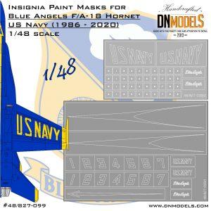 Blue Angels F/A-18 Hornet Insignia Paint Mask Set 1/48 dn models masks for scale models
