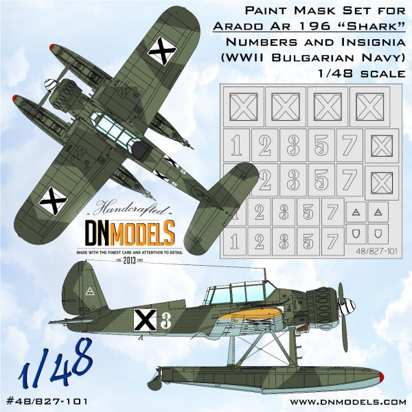 """Arado Ar 196 """"Shark"""" Insignia & Numbers - WWII Bulgarian NAVY Paint Mask Set 1/48 dn models masks for scale models"""